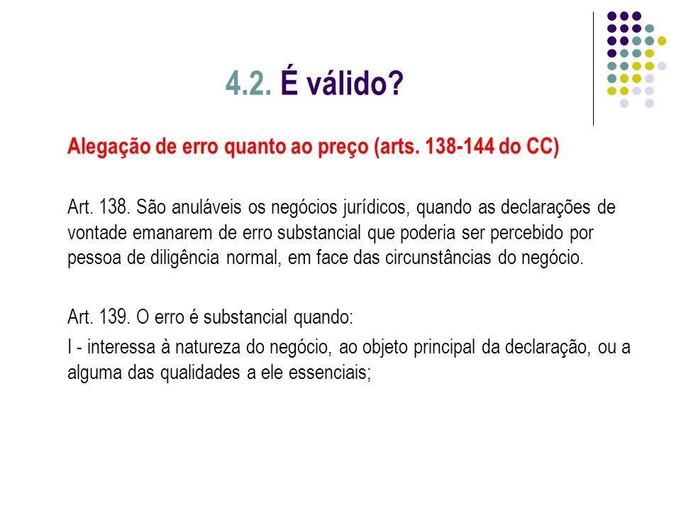 4.2. É válido Alegação de erro quanto ao preço (arts. 138-144 do CC)