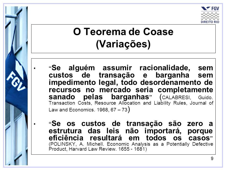 O Teorema de Coase (Variações)