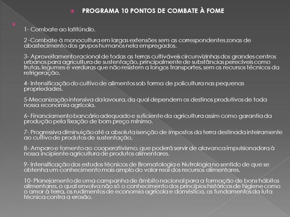PROGRAMA 10 PONTOS DE COMBATE À FOME