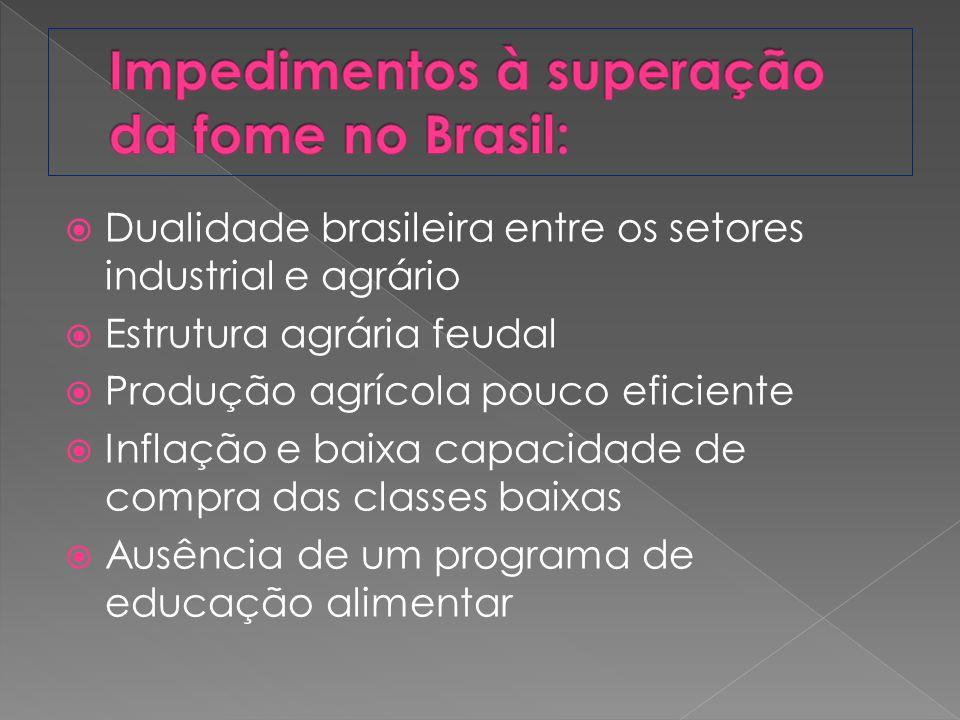 Impedimentos à superação da fome no Brasil: