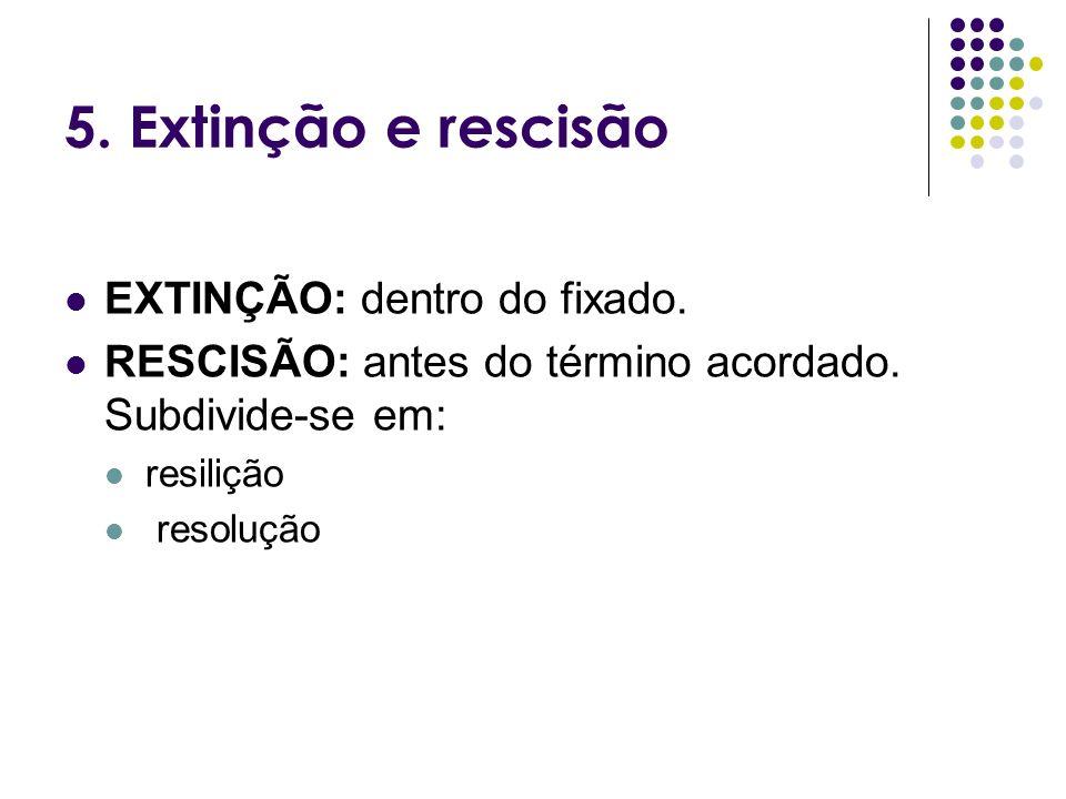 5. Extinção e rescisão EXTINÇÃO: dentro do fixado.