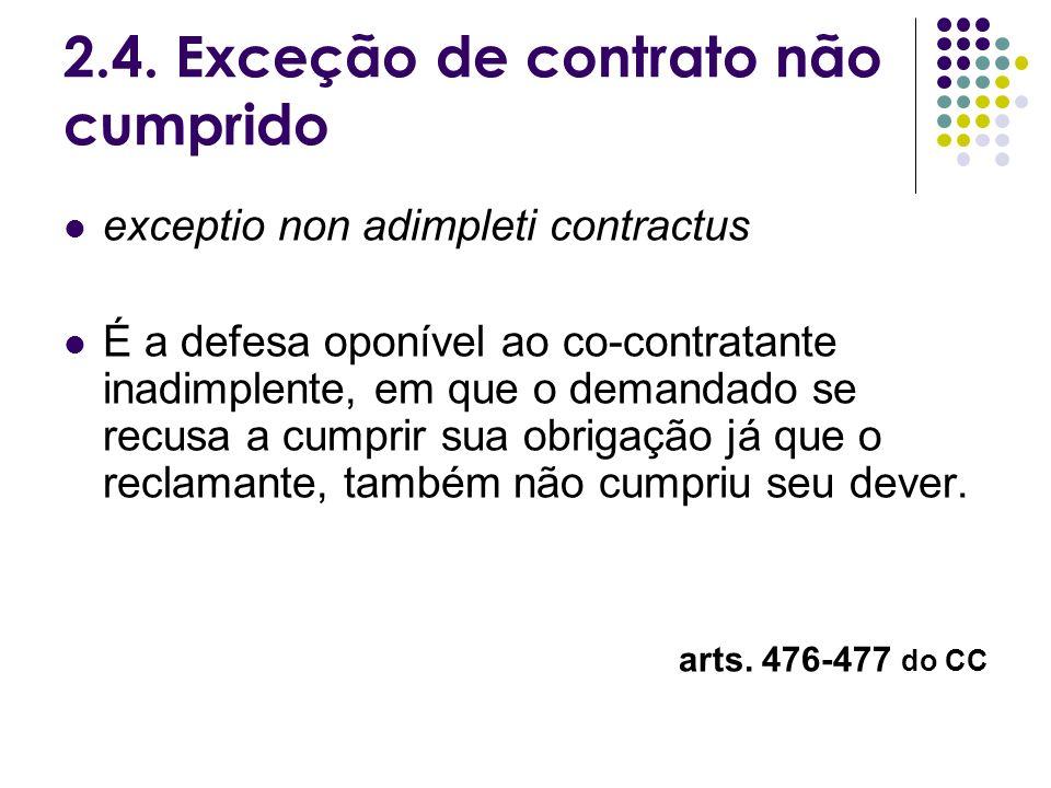 2.4. Exceção de contrato não cumprido