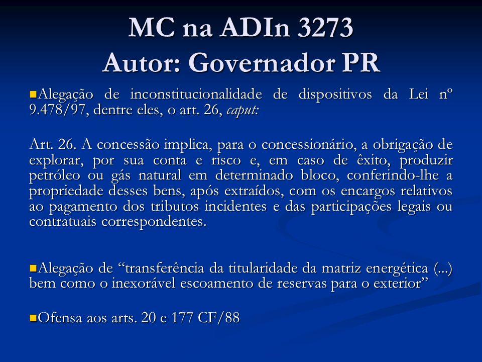 MC na ADIn 3273 Autor: Governador PR