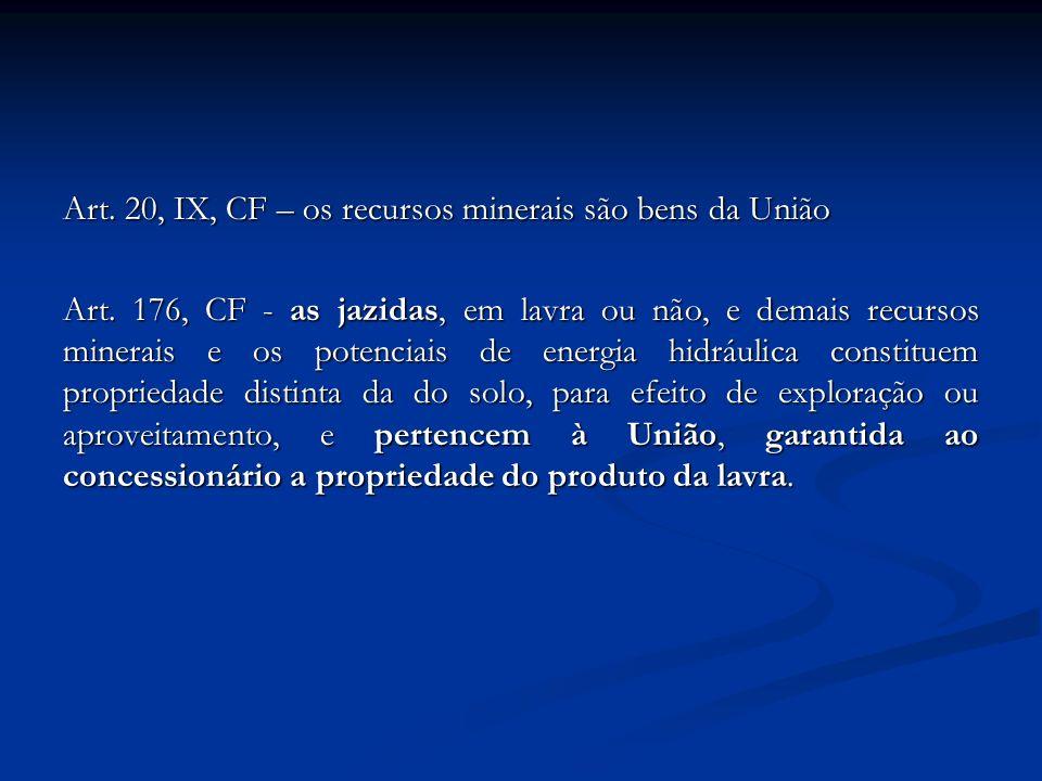 Art. 20, IX, CF – os recursos minerais são bens da União