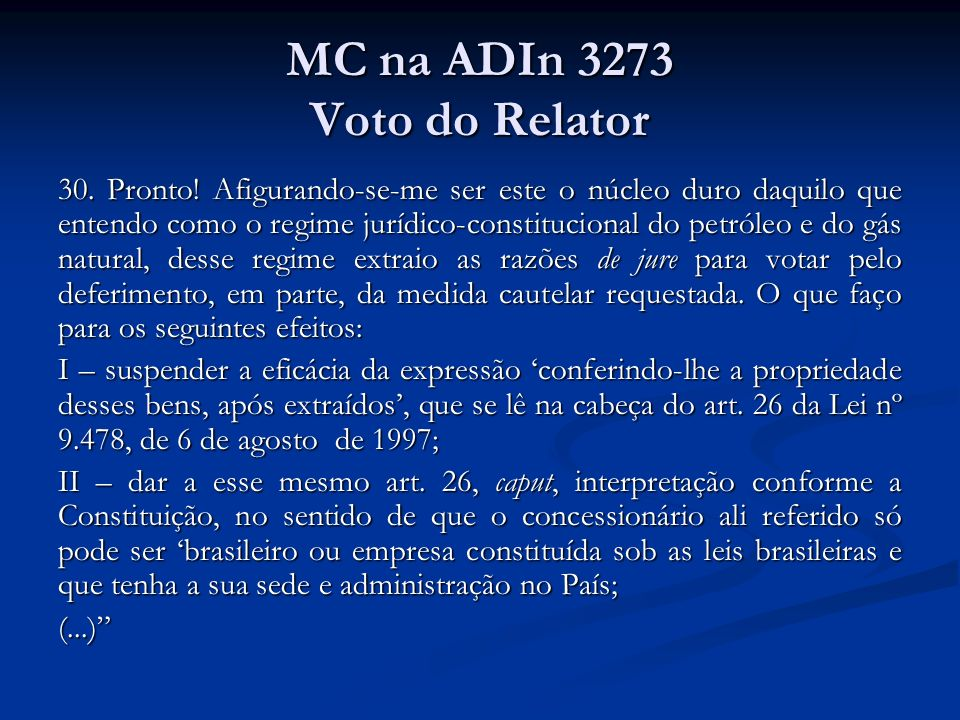 MC na ADIn 3273 Voto do Relator