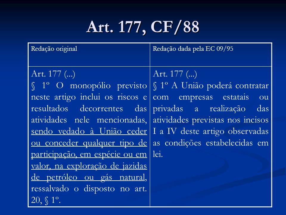 Art. 177, CF/88 Redação original. Redação dada pela EC 09/95. Art. 177 (...)