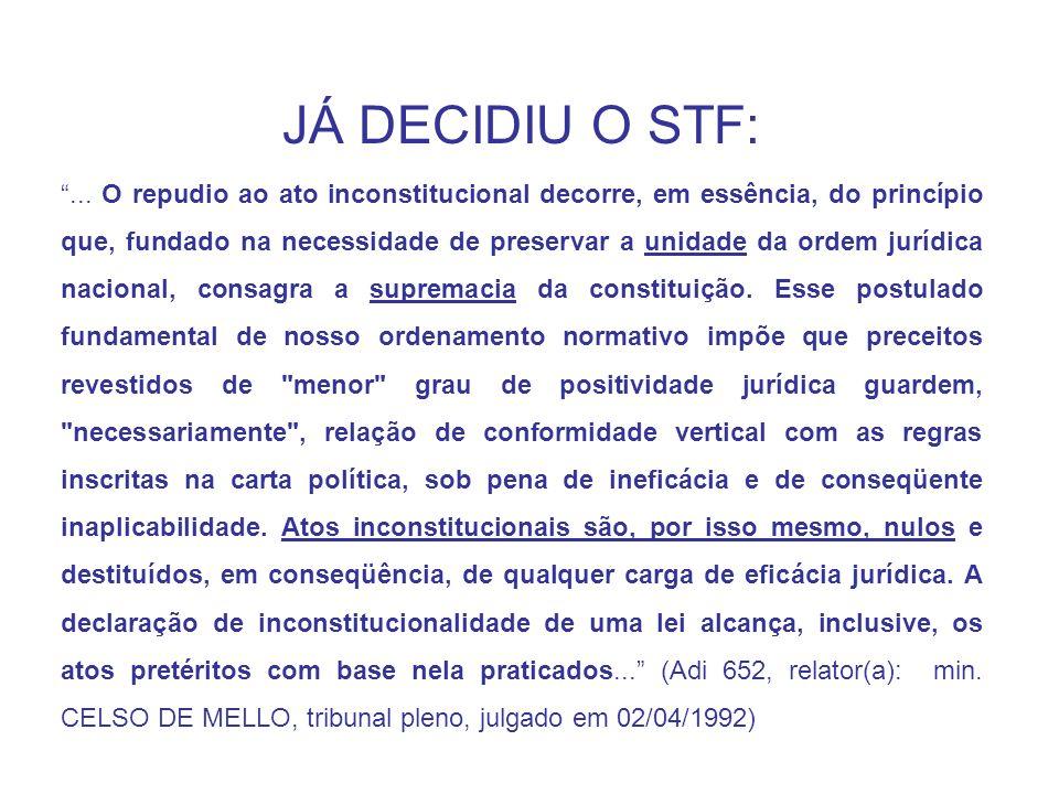 JÁ DECIDIU O STF:
