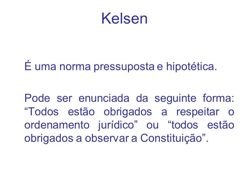Kelsen É uma norma pressuposta e hipotética.