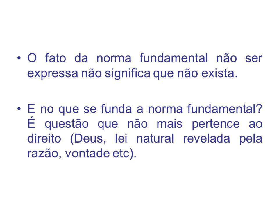 O fato da norma fundamental não ser expressa não significa que não exista.