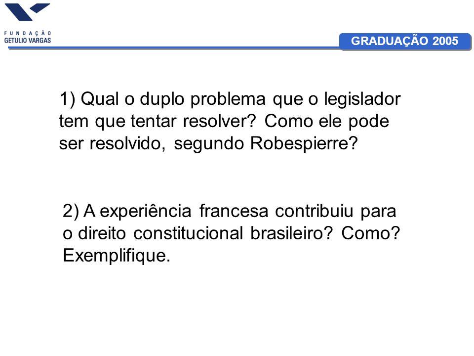 1) Qual o duplo problema que o legislador tem que tentar resolver