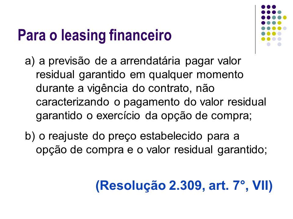 Para o leasing financeiro