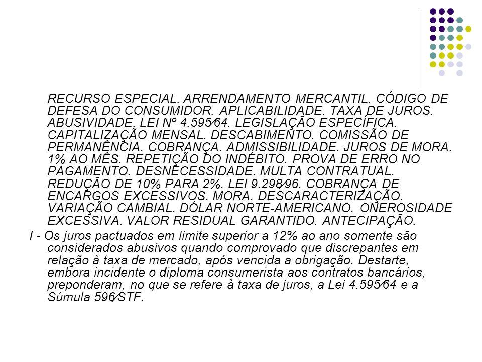 RECURSO ESPECIAL. ARRENDAMENTO MERCANTIL