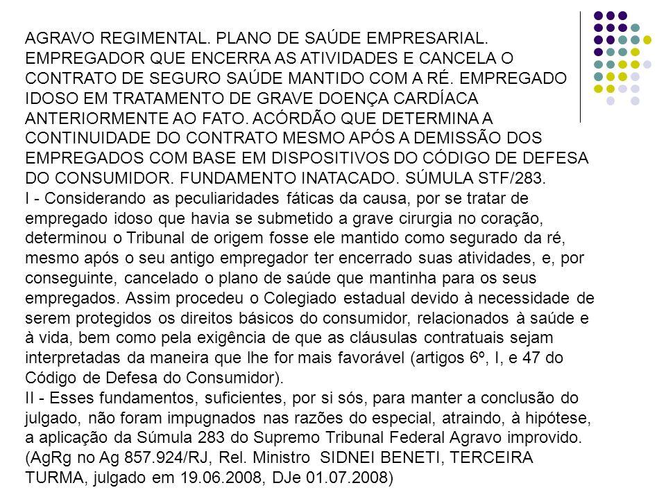 AGRAVO REGIMENTAL. PLANO DE SAÚDE EMPRESARIAL