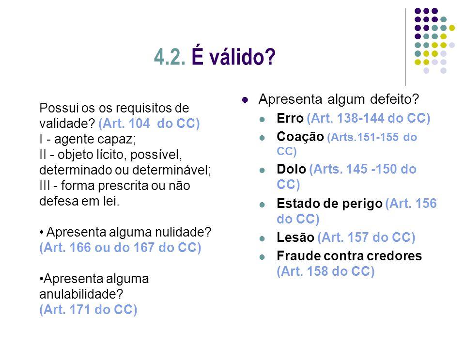 4.2. É válido Apresenta algum defeito Erro (Art. 138-144 do CC)