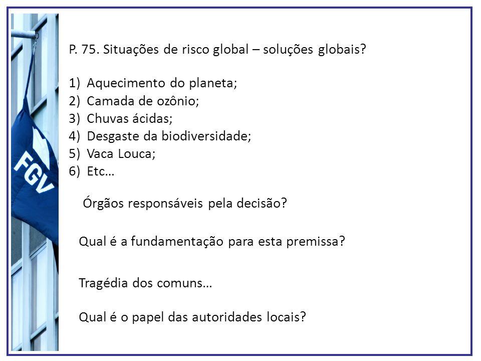 P. 75. Situações de risco global – soluções globais