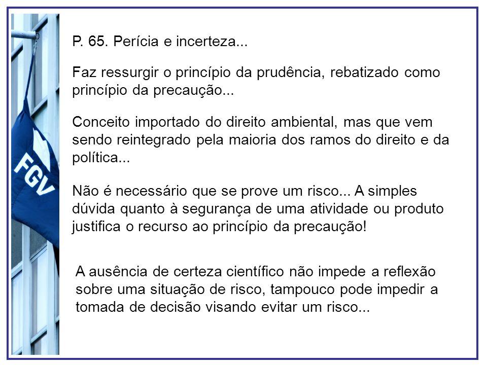 P. 65. Perícia e incerteza... Faz ressurgir o princípio da prudência, rebatizado como princípio da precaução...