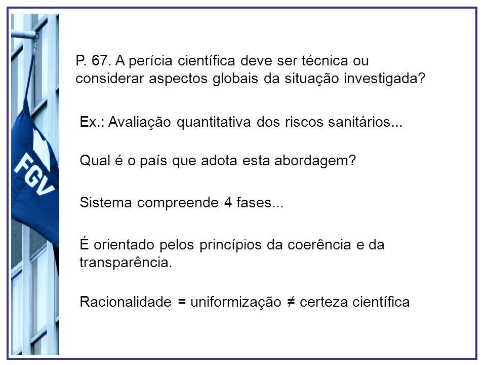 Ex.: Avaliação quantitativa dos riscos sanitários...