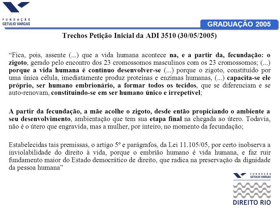 Trechos Petição Inicial da ADI 3510 (30/05/2005)