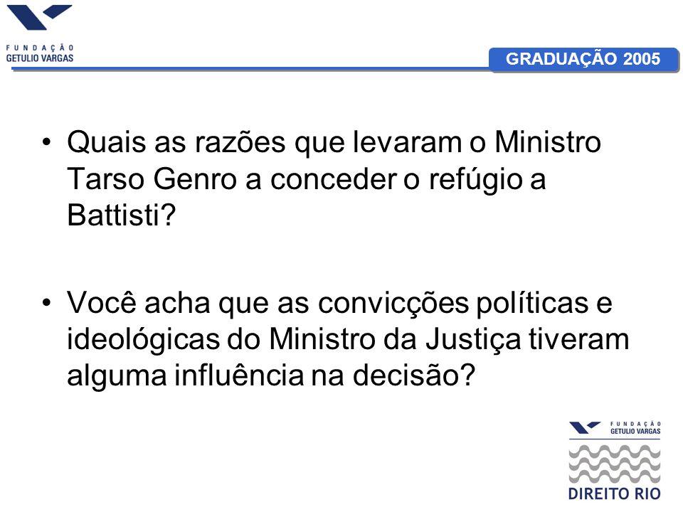 Quais as razões que levaram o Ministro Tarso Genro a conceder o refúgio a Battisti