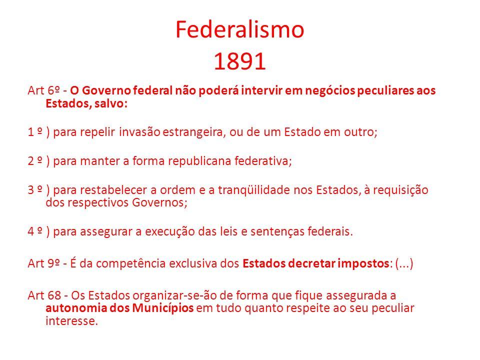 Federalismo 1891 Art 6º - O Governo federal não poderá intervir em negócios peculiares aos Estados, salvo: