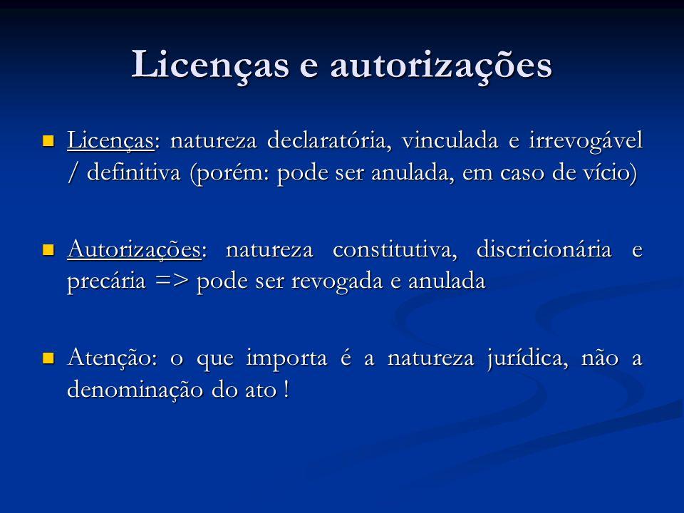 Licenças e autorizações