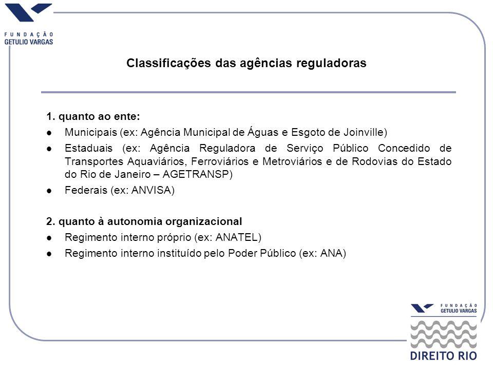 Classificações das agências reguladoras