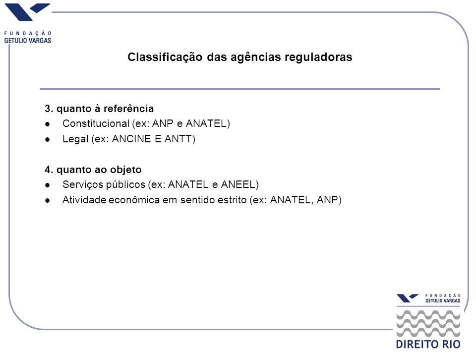 Classificação das agências reguladoras