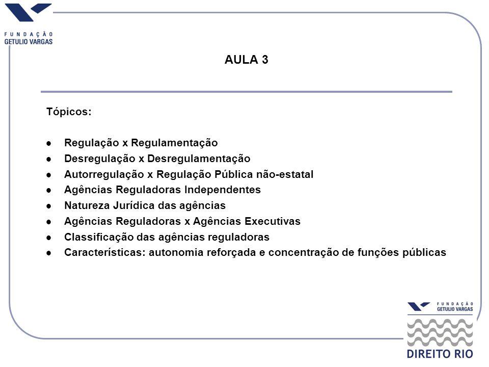 AULA 3 Tópicos: Regulação x Regulamentação