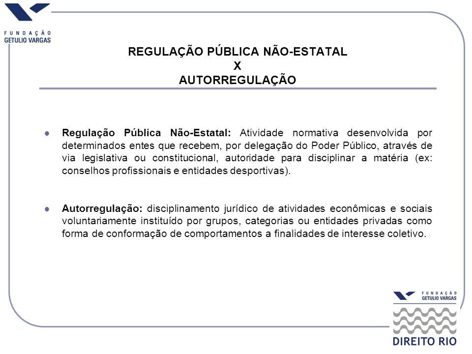 REGULAÇÃO PÚBLICA NÃO-ESTATAL X AUTORREGULAÇÃO