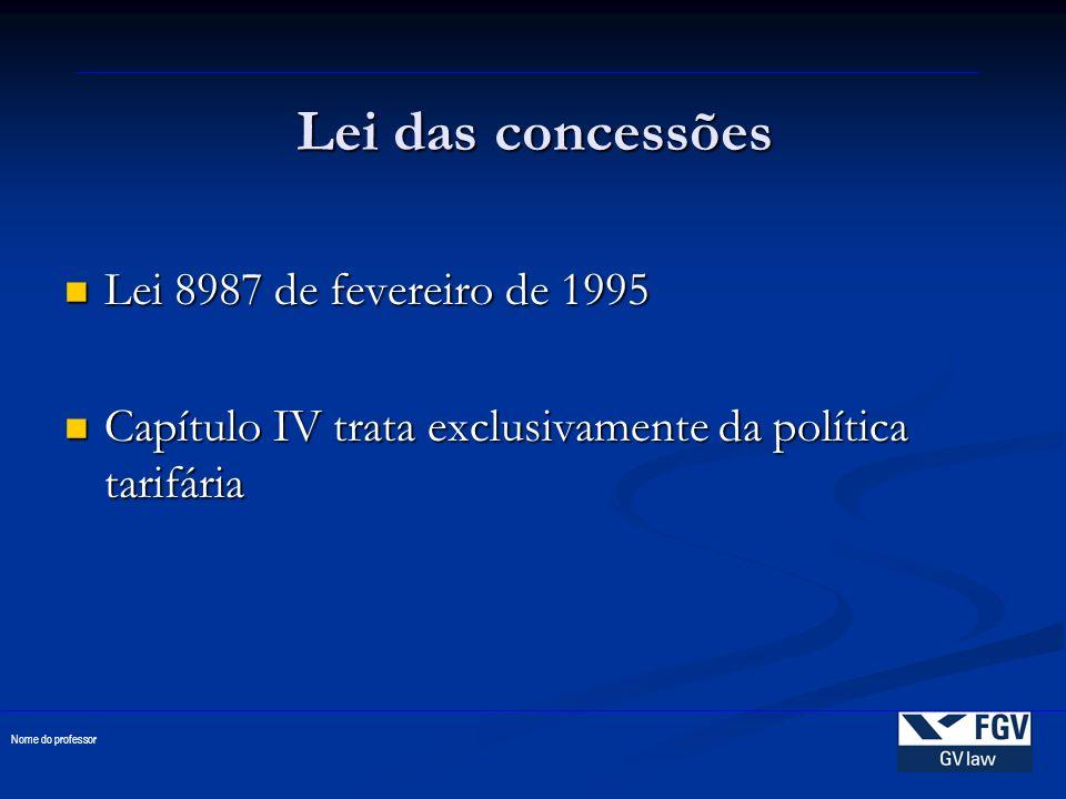 Lei das concessões Lei 8987 de fevereiro de 1995
