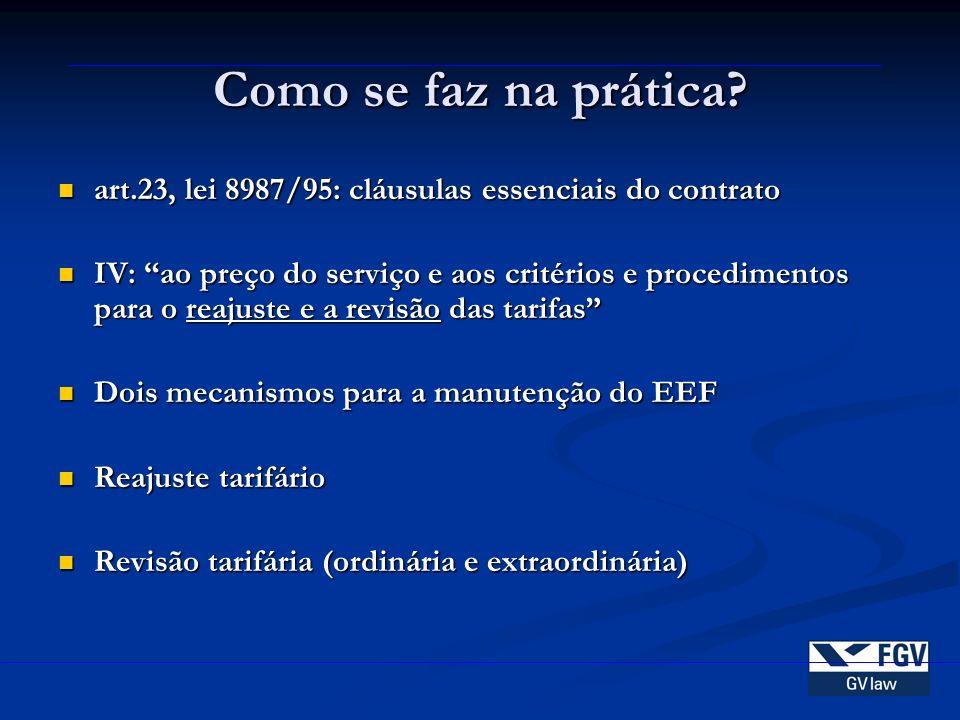 Como se faz na prática art.23, lei 8987/95: cláusulas essenciais do contrato.
