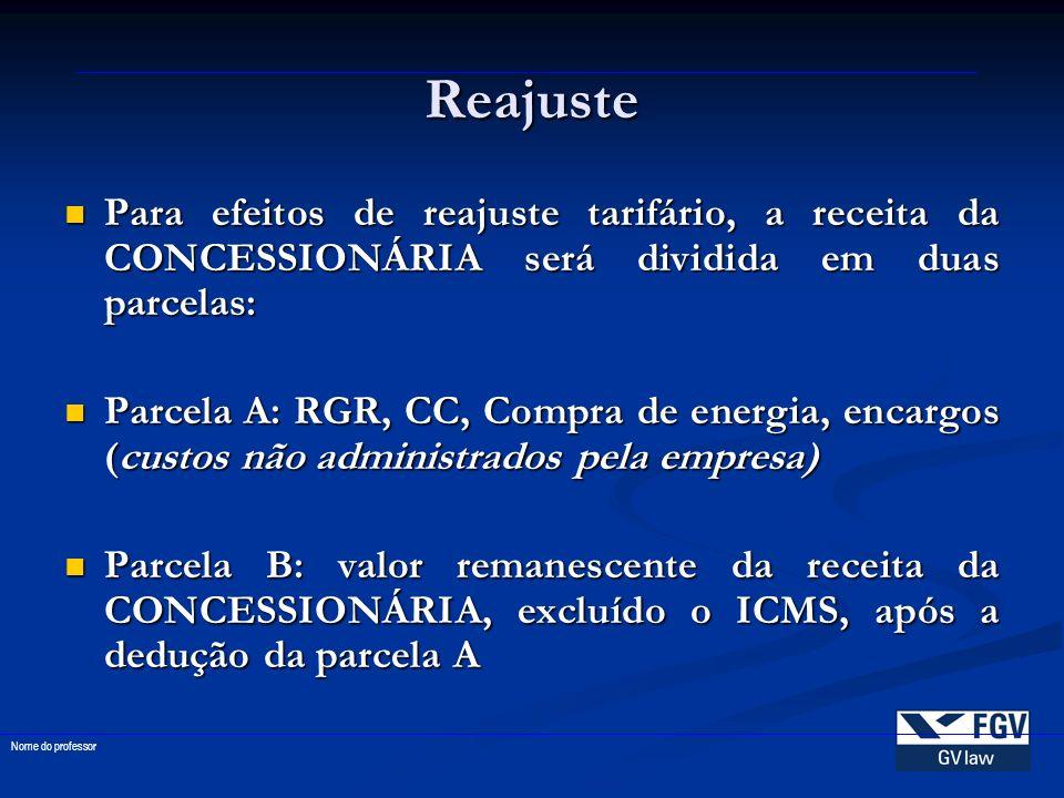 Reajuste Para efeitos de reajuste tarifário, a receita da CONCESSIONÁRIA será dividida em duas parcelas: