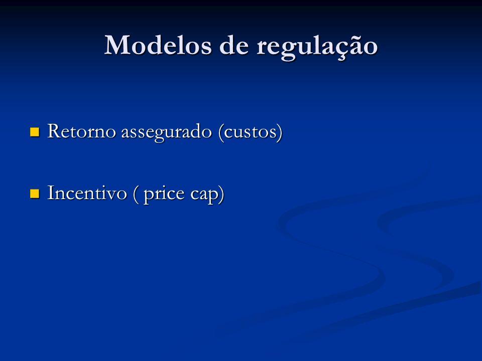 Modelos de regulação Retorno assegurado (custos)