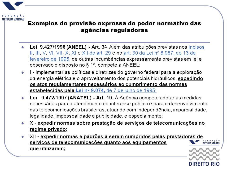 Exemplos de previsão expressa de poder normativo das agências reguladoras