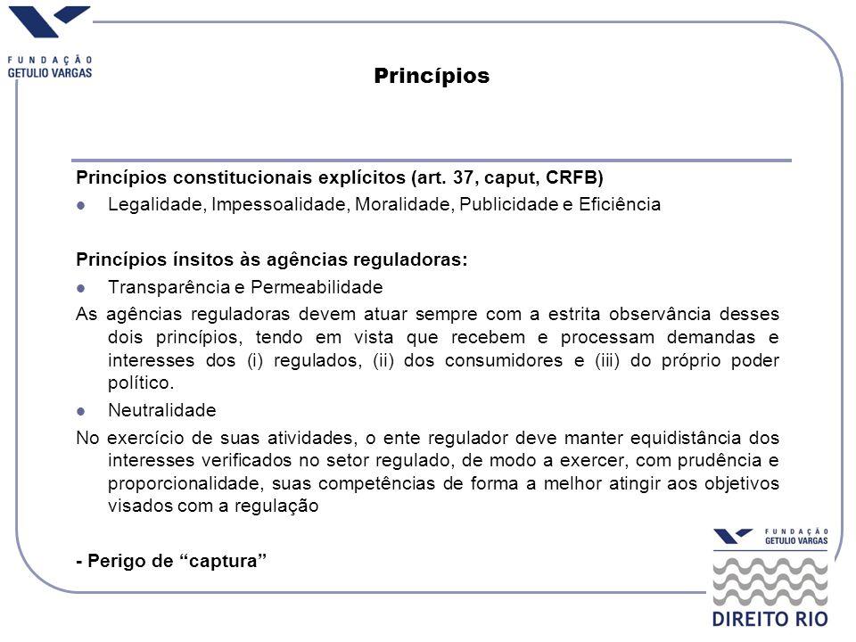 PrincípiosPrincípios constitucionais explícitos (art. 37, caput, CRFB) Legalidade, Impessoalidade, Moralidade, Publicidade e Eficiência.