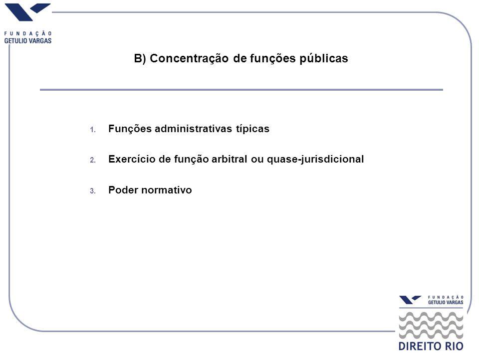 B) Concentração de funções públicas