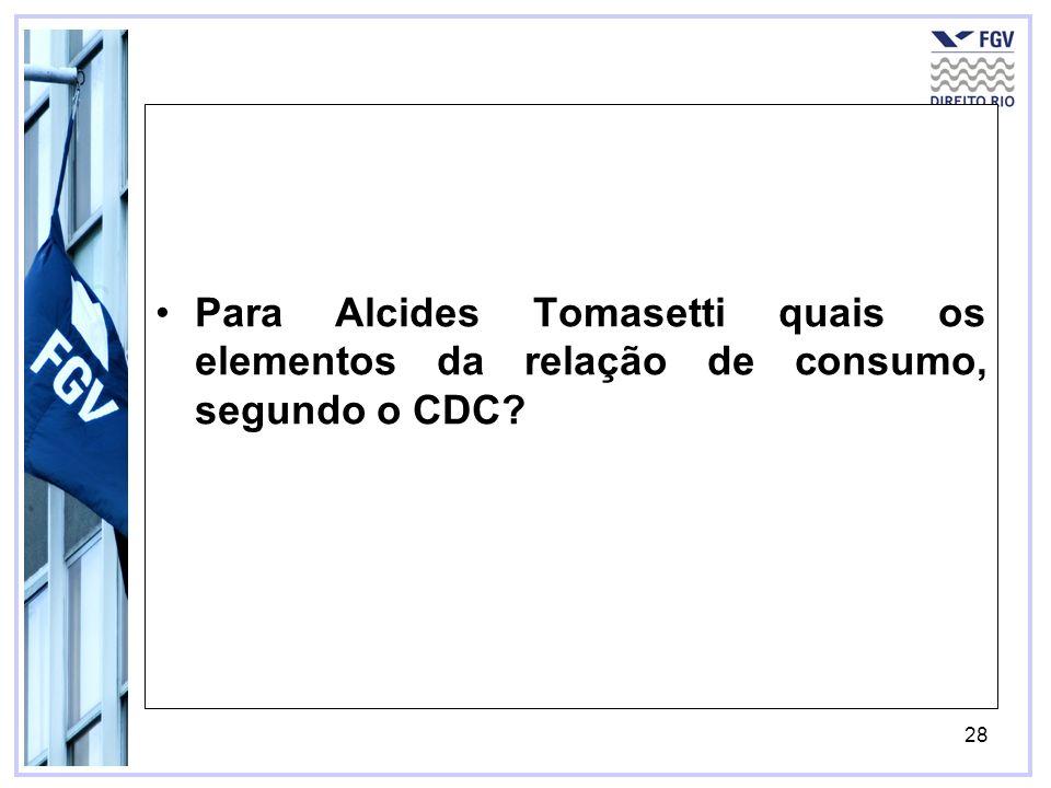 Para Alcides Tomasetti quais os elementos da relação de consumo, segundo o CDC
