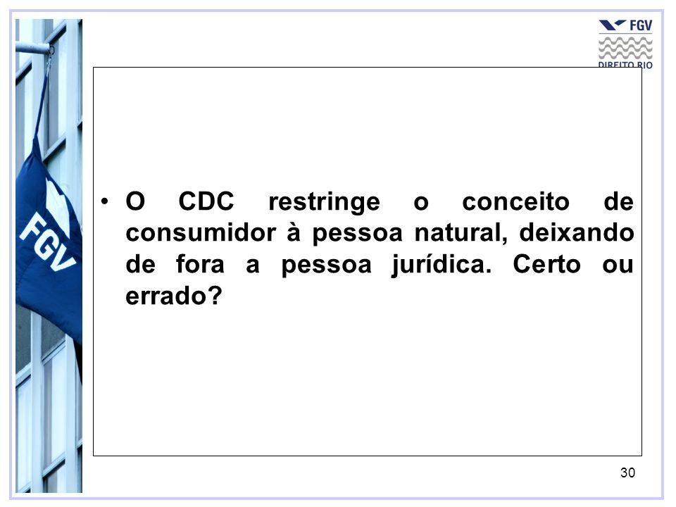 O CDC restringe o conceito de consumidor à pessoa natural, deixando de fora a pessoa jurídica.
