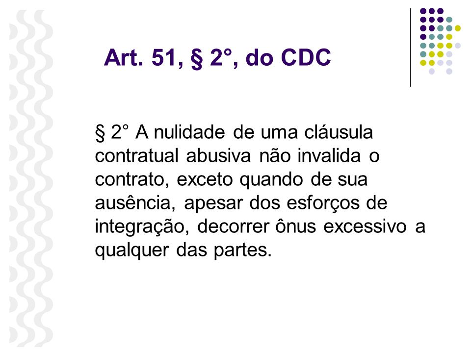 Art. 51, § 2°, do CDC
