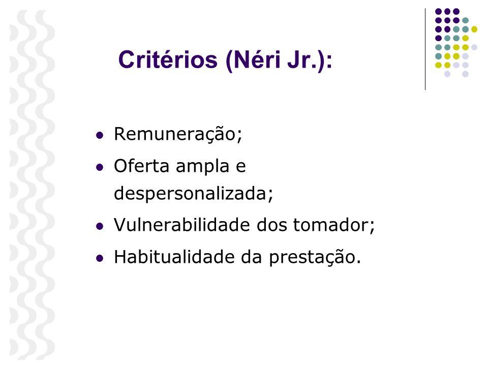 Critérios (Néri Jr.): Remuneração; Oferta ampla e despersonalizada;