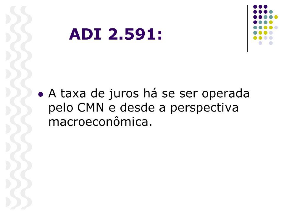ADI 2.591: A taxa de juros há se ser operada pelo CMN e desde a perspectiva macroeconômica.