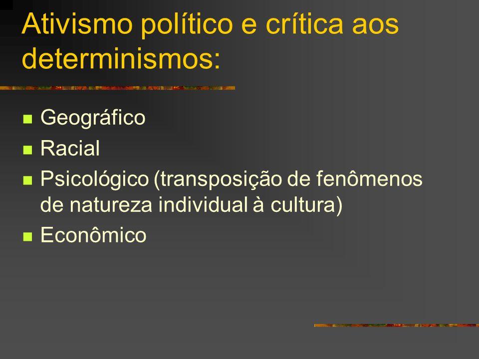 Ativismo político e crítica aos determinismos: