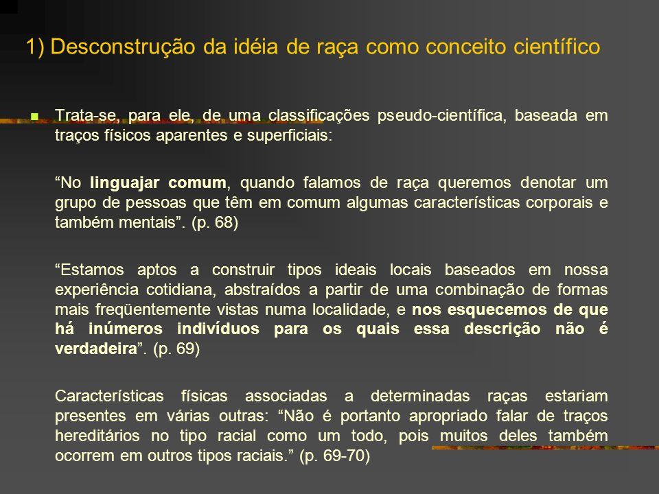 1) Desconstrução da idéia de raça como conceito científico