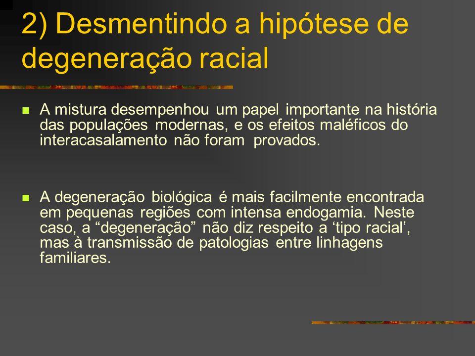 2) Desmentindo a hipótese de degeneração racial
