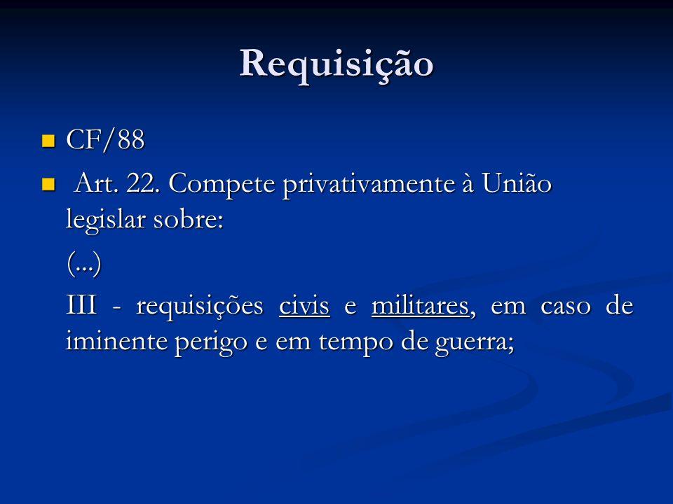 Requisição CF/88. Art. 22. Compete privativamente à União legislar sobre: (...)