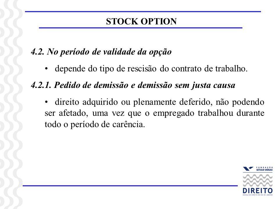 STOCK OPTION4.2. No período de validade da opção. depende do tipo de rescisão do contrato de trabalho.