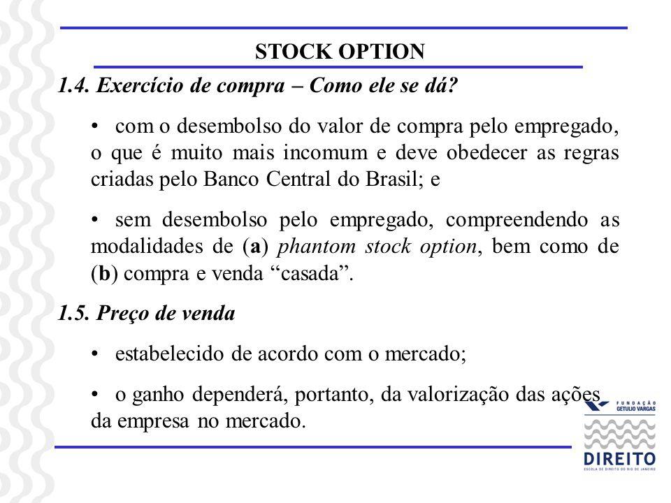 STOCK OPTION 1.4. Exercício de compra – Como ele se dá