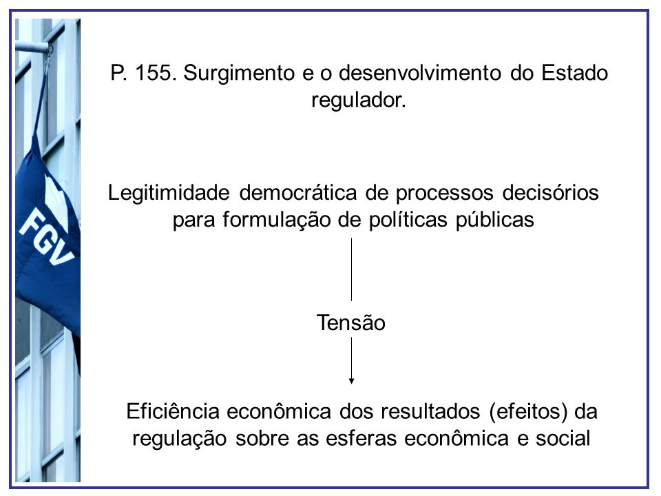 P. 155. Surgimento e o desenvolvimento do Estado regulador.
