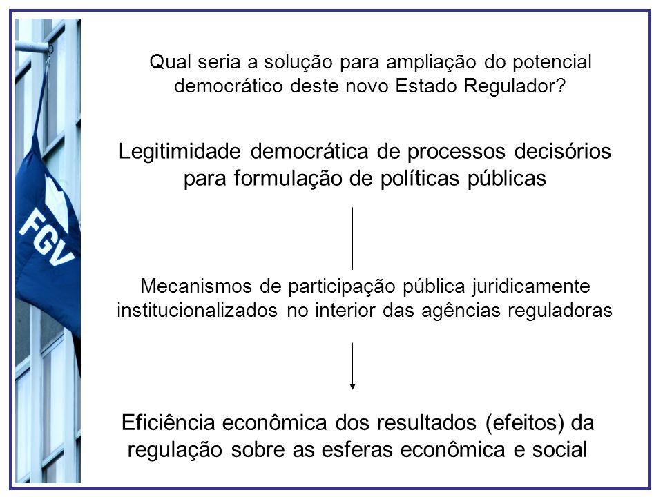 Qual seria a solução para ampliação do potencial democrático deste novo Estado Regulador