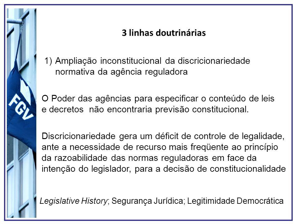 3 linhas doutrinárias Ampliação inconstitucional da discricionariedade normativa da agência reguladora.